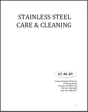 CSP Stainless Steel Care, Cleaning, Warranty