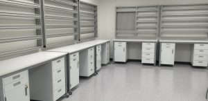 Lab shelving. IN PAGE